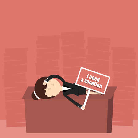 blockage: Business situation. Tired businesswoman needs a vacation. Illustration