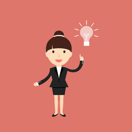 smart woman: Business situation. Businesswoman get a new idea.