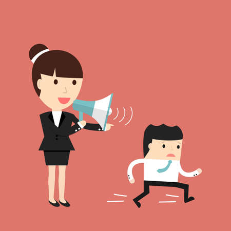 commanding: Business situation. Businesswoman commanding officers into a megaphone. Employees run work. illustration. Illustration