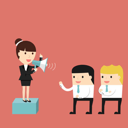 persuade: Businesswoman delivers a speech in front of subordinates. illustration.