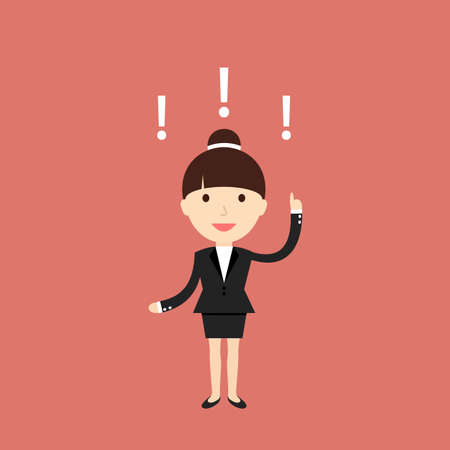 income: Business situation. Businesswoman found a solution to the issue. illustration.