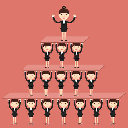 corporate hierarchy: Business situation. Corporate hierarchy in the company. illustration. Illustration