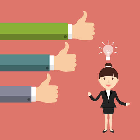 new idea: Business situation. Businesswoman get a new good idea. illustration. Illustration