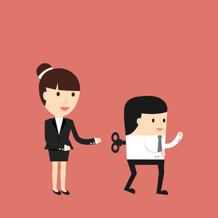 exploitation: Business situation. The businesswoman sets up workers Symbol management of the company. illustration. Illustration