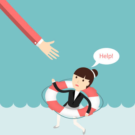 business help: Business situation. Businesswoman sinking and asks for help. The concept of failure in business. illustration. Illustration