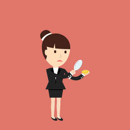 considers: Businesswoman considers coin through a magnifying glass. The concept of a small profit. Vector illustration. Illustration