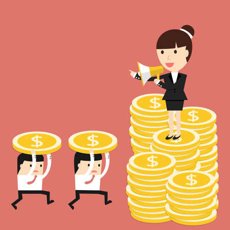 commanding: Business situation. Businesswoman standing on a pile of coins and commanding into a megaphone. Employees run work. Vector illustration. Illustration
