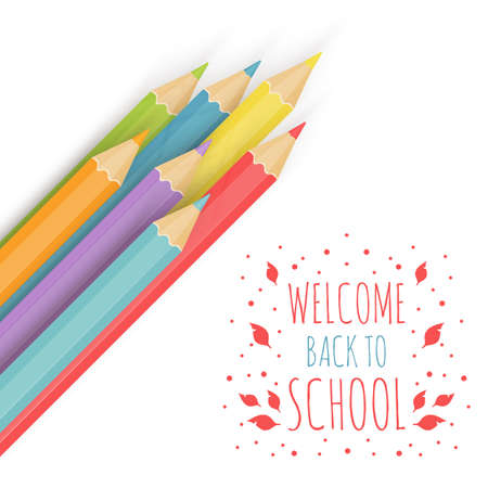 writes: Background image with multicolored penci Welcome Back to School. Vector illustration. Illustration