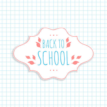 School background with paper frame. Vector illustration.