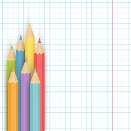 notepaper: School background with multicolored pencils on the notepaper. Vector illustration.