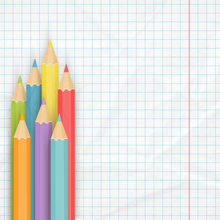 notepaper: School background with multicolored pencils on the crumpled notepaper. Vector illustration. Illustration
