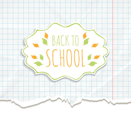 notepaper: School background with frame on the texture of crumpled and torn notepaper. Vector illustration. Illustration