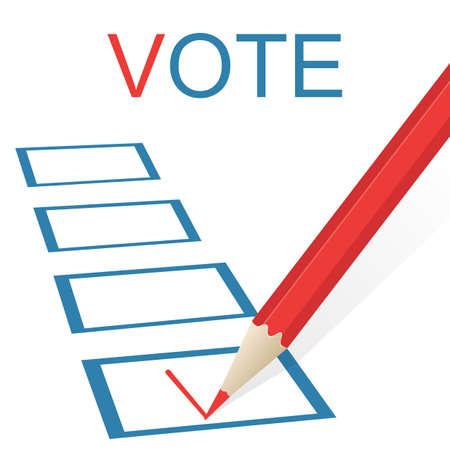 voter registration: Voting concept picture. Pencil draws a check mark.