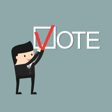 voter registration: A man puts a  check mark. People vote. Illustration
