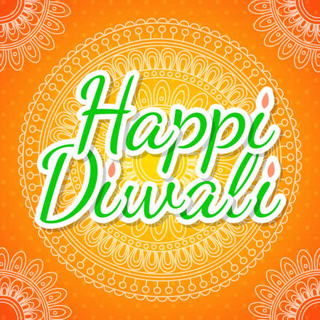 deepawali backdrop: Celebratory background with paisley pattern, rangoli and beautiful frame for Indian Festival of Lights. Happy Diwali. Illustration