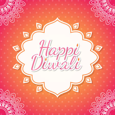 festival of lights: Celebratory background with paisley pattern, rangoli and beautiful frame for Indian Festival of Lights. Happy Diwali. Illustration