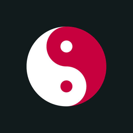 Symbol of Yin Yan on a dark background. Vector illustration.