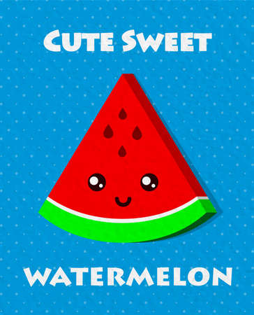 Trendy poster in pop art style with watermelon. Vector illustration