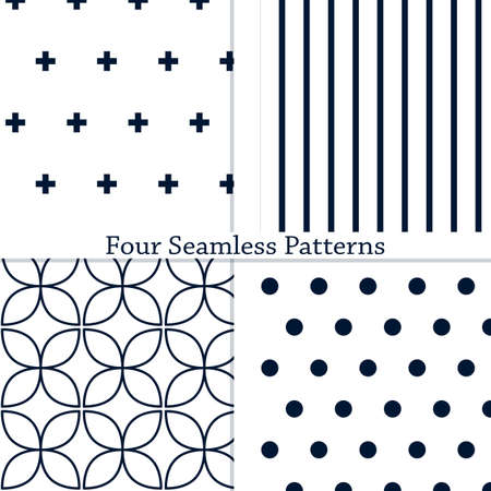 The set of simple geometric seamless patterns. Vector illustration. Eps10