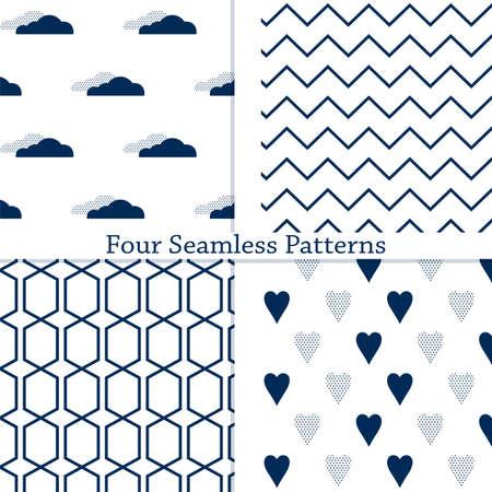 L'ensemble de motifs géométriques simples sans soudure. Illustration vectorielle. Eps10