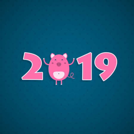 2019 Happy New Year greeting card with a cute pig. Vector illustration.