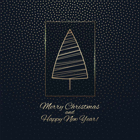 The greeting card with a golden tree