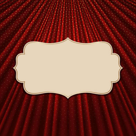 Beautiful frame on a red textile effect background with golden polka dots. Vector illustration. Illustration