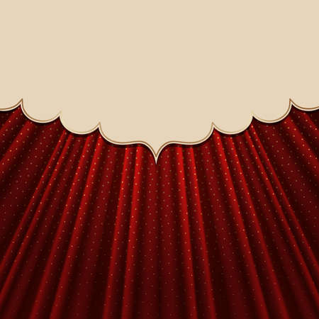 Beautiful frame on a red textile effect background with golden polka dots. Vector illustration. Иллюстрация