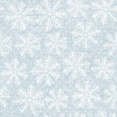 This is a winter seamless pattern with snowflakes. New Year and Christmas background. Vector illustration.
