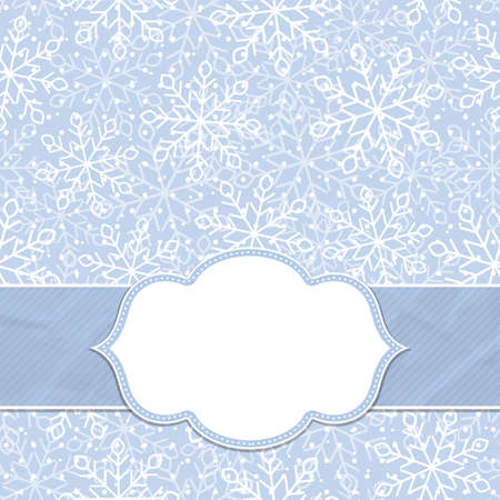 Beautiful frame on a seamless background with snowflakes. Christmas and New Year greetings. Vector illustration.