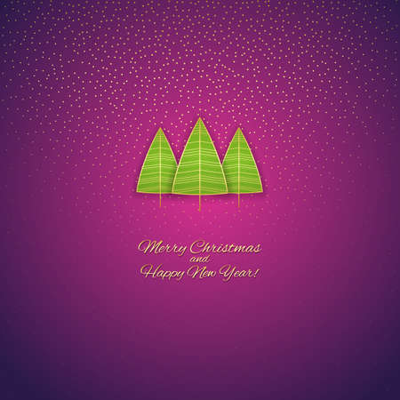 Greeting illustration with a green Christmas trees on a purple background. Vector Eps10.