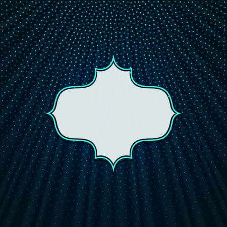 Beautiful frame on a dark blue textile effect background with polka dots. Vector illustration.