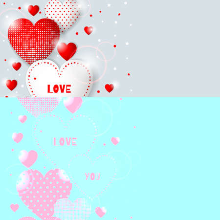 Happy Valentine s Day congratulation card. Background design with different hearts. Vector illustration.