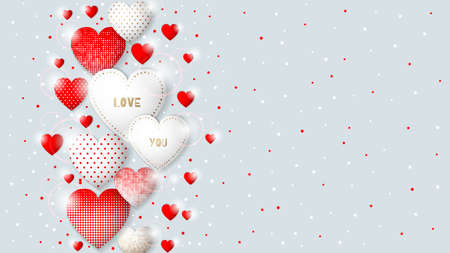 Happy Valentine s Day congratulation card. Background design with different hearts. Vector illustration. Vetores