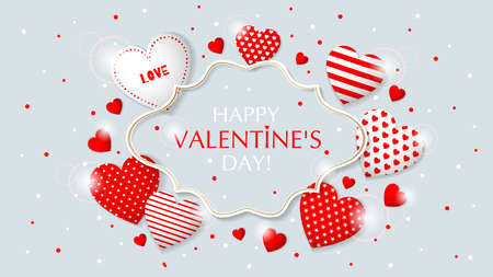 Happy Valentine s Day congratulation card. Frame design with different hearts. Vector illustration.