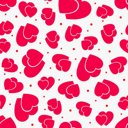 Love seamless pattern with hearts. Red and wight background. Vector illustration.
