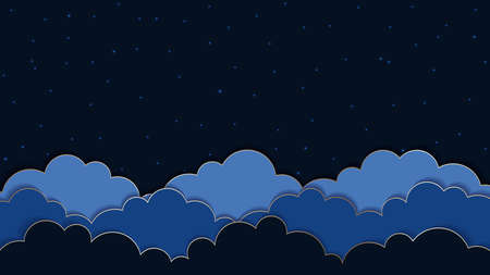 Abstract dark blue background with clouds and stars.    Vector illustration.