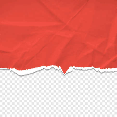 Old paper realistic design. Red torn and wrinkled paper    background. Vector illustration. Eps10.