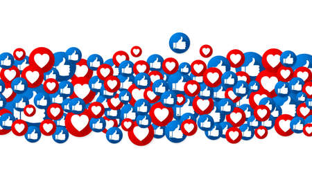 The like and love buttons background design.