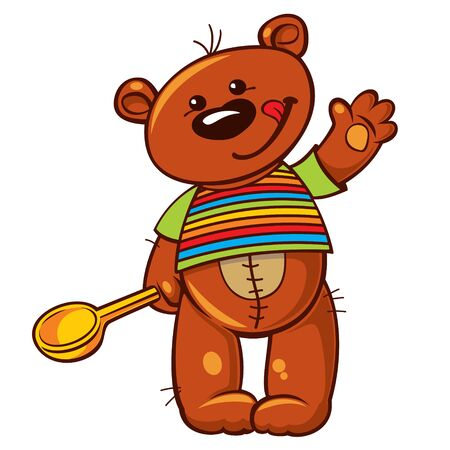 Vector illustration with lovely teddy bear holding a wooden spoon