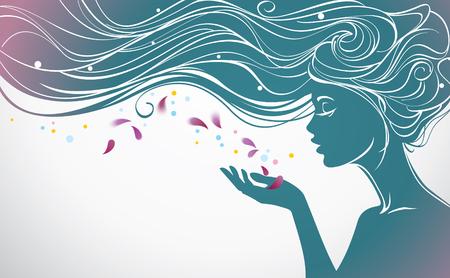 siluetas de mujeres: Ilustración del vector con la muchacha hermosa pelo largo sopla lejos pétalos de flores de su palma Vectores