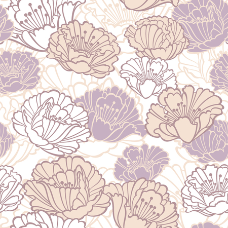pastel shades: Vector seamless floral pattern with poppies in pastel shades
