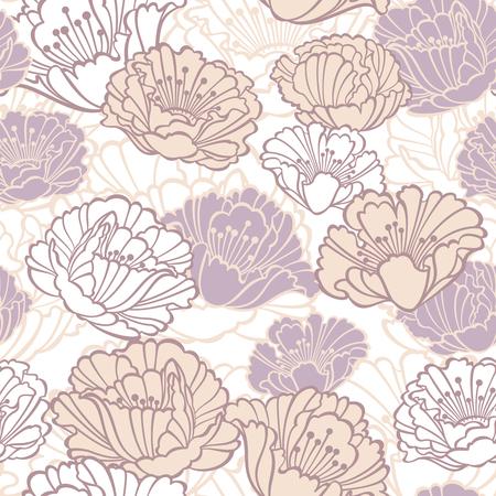 Vektor nahtlose florale Muster mit Mohnblumen in Pastelltönen Standard-Bild - 50523285