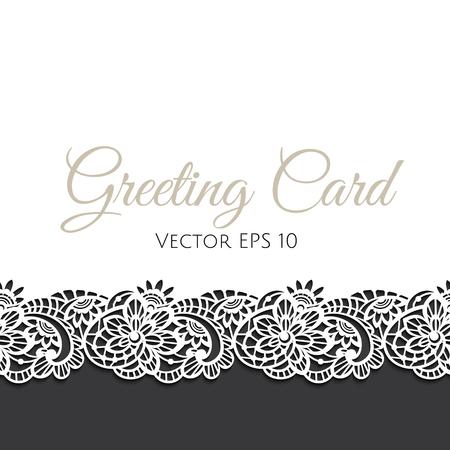 Vector Vorlage von Grußkarte mit floralen Spitze verziert Standard-Bild - 50523286