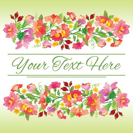Vector Vorlage Karte mit Blumenmuster Standard-Bild - 50523288