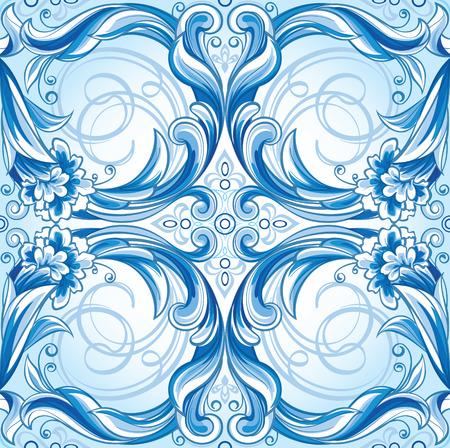 Vector nahtlose blauen Blumenmuster Standard-Bild - 50523290