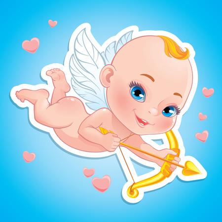 Illustration mit Baby Cupid schießen einen Bogen Standard-Bild - 51269851