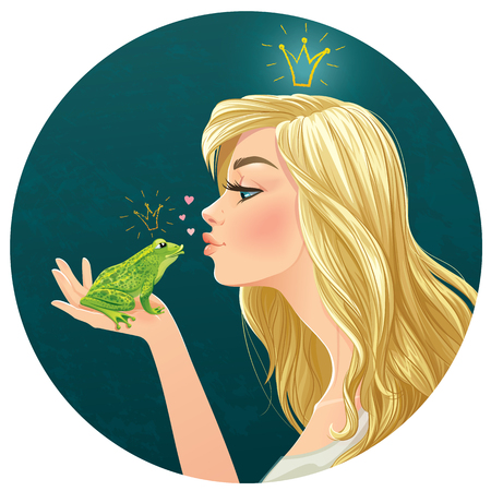 Illustration with beautiful lady kisses a frog Imagens