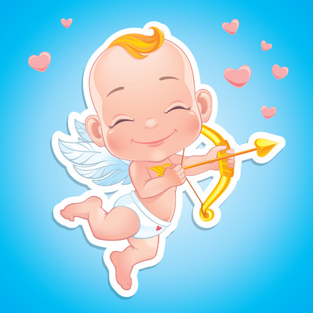 Illustration with Baby Cupid shooting a bow