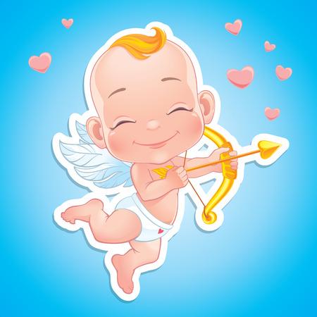 Ilustración con el bebé de Cupido disparando un arco Foto de archivo - 51269972